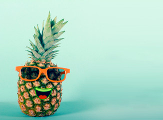 Pineapple in sunglasses - party, fun concept
