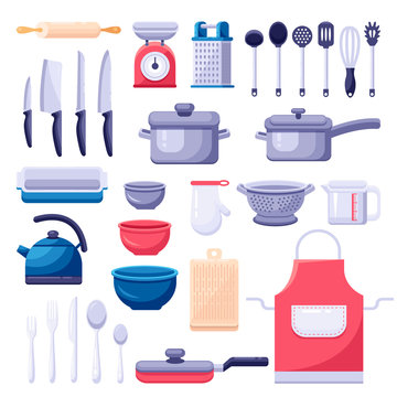 Kitchen utensil icons and design elements set. Cooking and kitchenware modern tools. Vector colorful flat illustration