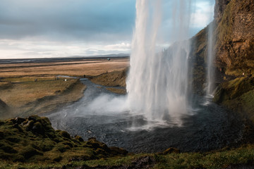 Picturesque waterfall Seljalandsfoss, Iceland. Nordic nature