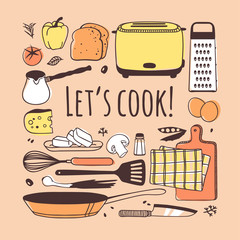 Hand drawn illustration cooking tools, dishes, food and quote. Creative ink art work. Actual vector drawing. Kitchen set and text LET'S COOK