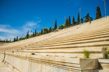 world heritage site tourism concept, antique marble tribune architecture object in stadium arena from ancient Greece times