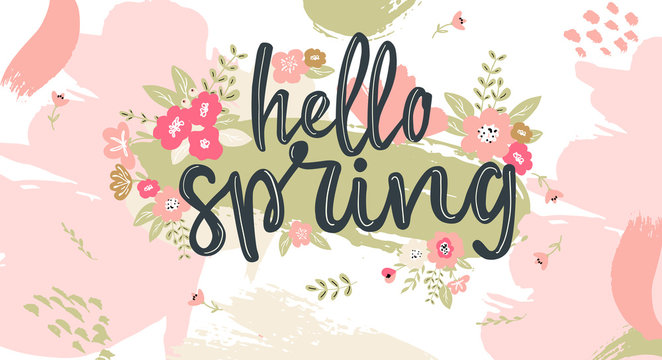 Hello Spring hand written lettering words.Hand drawn typography banner and spring season illustration with flowers and branches for greeting cards, tags, invitations, ad banners.