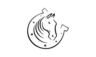 Horseshoe With Horse Head Logo Design Inspiration
