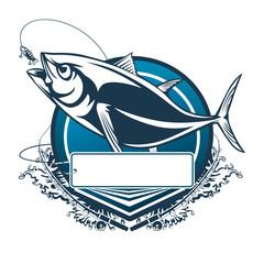 Tuna big fishing logo illustration. Tuna fish fishing vector emblem. Blue fin fish marine theme. Angry fish.
