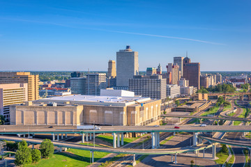 Memphis, Tennessee, USA downtown city skyline over highways