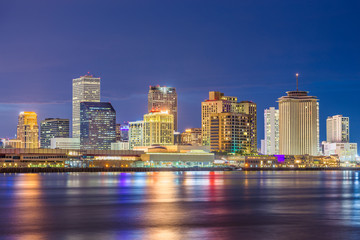 New Orleans, Louisiana, USA downtown city skyline on the Mississippi River