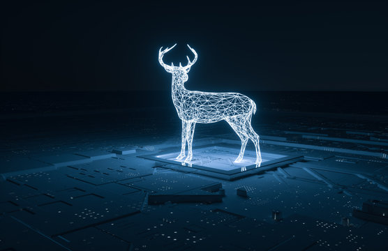 3d rendering, deer with lines