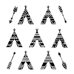 Teepee tents and arrows tribal tattoo collection. Wigwam ornamental design.