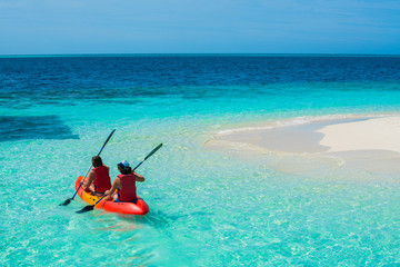 Kayak near Curve beach background and clear beautiful color sea in nature.