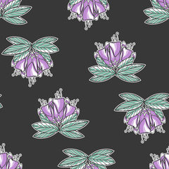 Seamless texture with violet flowers. Spring background. Repeating pattern. Can be used as wallpaper, desktop, wrapping, fabric or background for your blog, covers, cards.