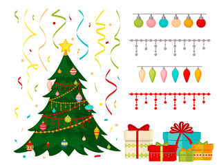 Christmas tree with fir gifts balls lights winter holiday gift card merry xmas celebration happy new year decoration vector illustration