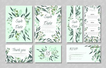 Wedding Cards with Eucalyptus.