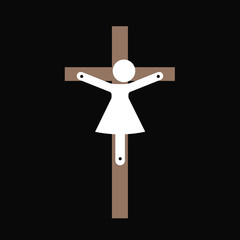 Jesus Christ from Nazareth as woman. Female messiah of Christianity and religion of Chrestendom crucified on the Christian cross. Vector illustration