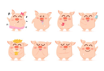 Baby Pig, characters, cute cartoon collection, Chinese New Year, Year of the pig, vector, isolated on white background