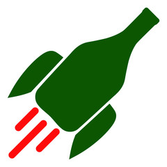 Rocket wine bottle vector icon symbol. Flat pictogram is isolated on a white background. Rocket wine bottle pictogram designed with simple style.