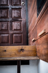 closeup of wood stair design