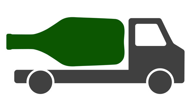 Wine delivery vector icon symbol. Flat pictogram is isolated on a white background. Wine delivery pictogram designed with simple style.