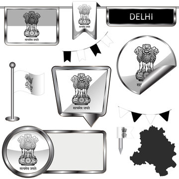 Glossy icons with flag of Delhi, India