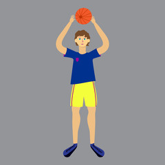 Isolated volleyball player on white background. Man in uniform with ball. Vector illustration