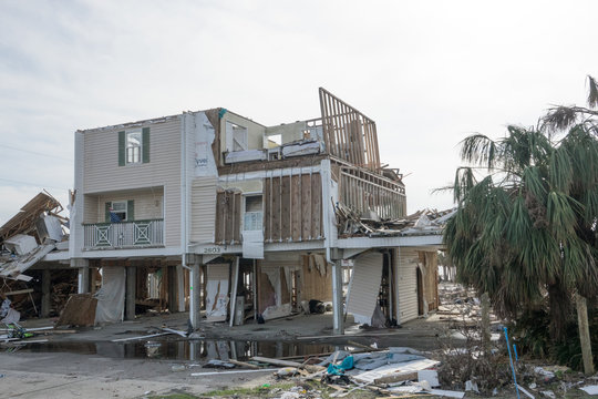 Missing Roof and Walls of Apartment on Gulf Coast in the Aftermath of Hurricane Michael