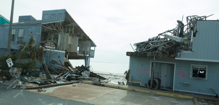 Destroyed beach housing in the aftermath of hurricane Michael