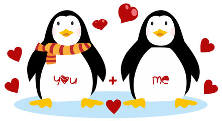 Cute penguins - Happy Valentines day. Couple of penguins