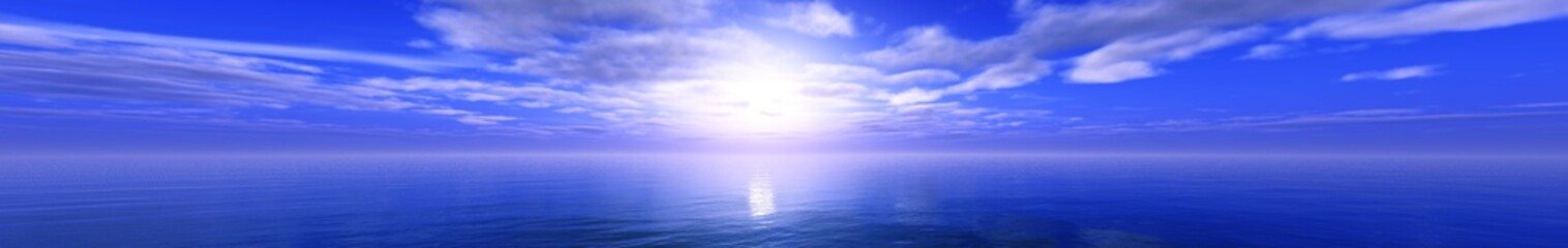 morning at sea, panorama of sea sunset, clouds over the water, light over the ocean,