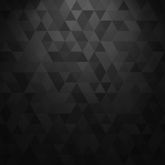 Vector black geometric background with lighting. Abstract texture with triangles.