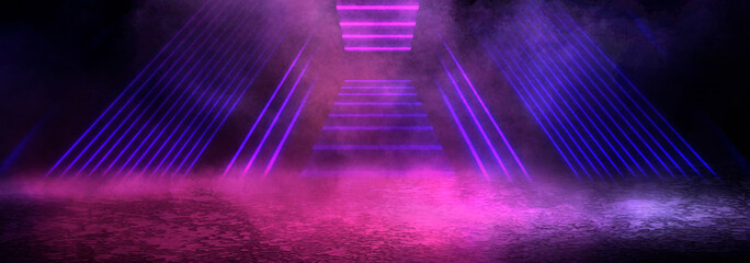 Fotomurales - Background of an empty dark room. Empty walls, neon light, smoke, glow