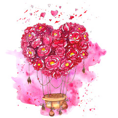 Watercolor hand drawn hot air balloon with heart of flowers.