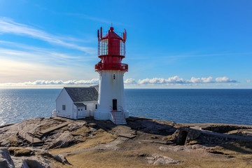 lighthouse at cap lindesnes, southern norway