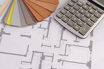 samples of building materials, housing plan, calculator. repair, construction