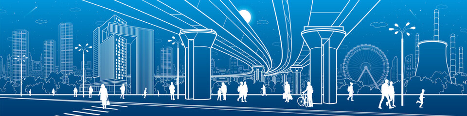 Business Center, city architecture panorama. People walking at town street. Road crosswalk. Road bridge, overpass. Ferris wheel. Urban life. Vector design art
