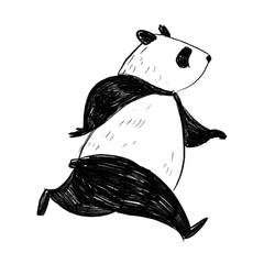 Black and white pencil illustration. Hand drawn running panda