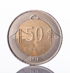50 turkish kurus coin front side