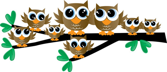 a brown adorable owl family sitting on a branch