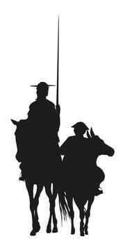 Vector Ilustration silhouette of Don Quixote de la Mancha, of Cervantes spanish novelist, with windmills and sunset