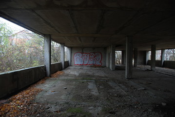 Urbex, ruins of unfinished barracks