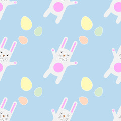 Easter Seamless Pattern Funny cartoon bunny with eggs. Gentle print