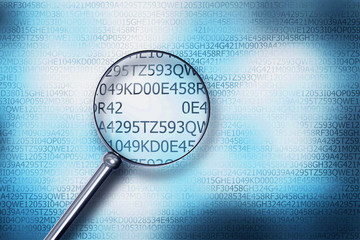 reading code on computer screen with a magnifying glass internet security 3D Illustration