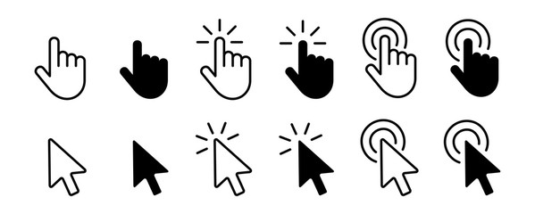 Set of Hand Cursor icons click and Cursor icons click. Isolated on White background Wall mural