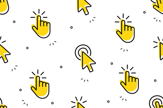 Seamless pattern with Hand Cursor and cursor icons. Isolated on White background