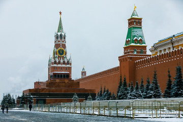 JanuarRed Square in Moscow - the capital of Russia. The Cathedral of the Intercession of the Holy Virgin and the Spasskaya Tower of the Kremlin