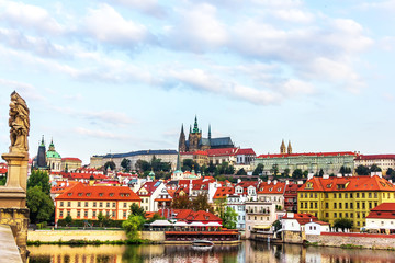 Papiers peints Prague View from the Charles Bridge on the Lesser Town of Prague