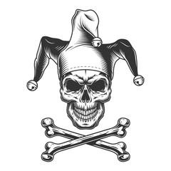 Vintage monochrome jester skull
