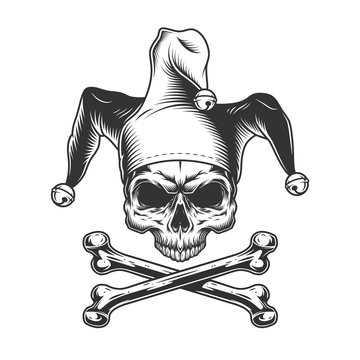 Vintage jester skull without jaw