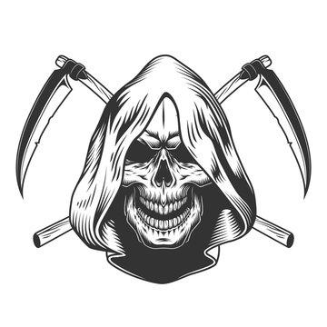 Vintage monochrome reaper skull in hood