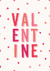 Cute Typographic Valentine Card Template