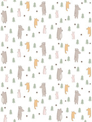 Lovely Hand Drawn Woodland Theme Vector Pattern. Cute Abstract Animals Standing Among Trees. White Background. Funny Infantile Style Nursery Art. Bear, Fox, Deer and Bunnies.