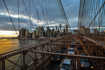 Rush hour on Brooklyn Bridge